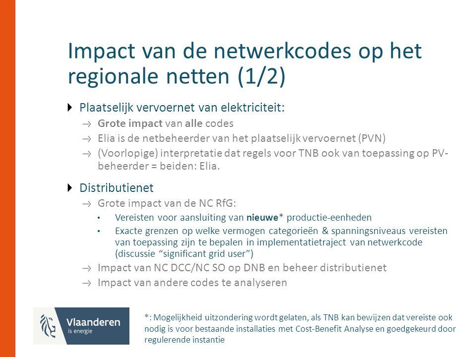 Impact van de netwerkcodes op het regionale netten (1/2) Plaatselijk vervoernet van elektriciteit : Grote impact van alle codes Elia is de netbeheerder van het plaatselijk vervoernet (PVN) (Voorlopige) interpretatie dat regels voor TNB ook van toepassing op PV- beheerder = beiden: Elia.