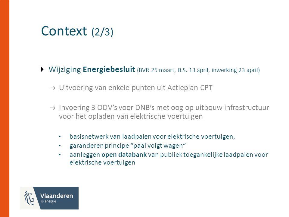 Context (2/3) Wijziging Energiebesluit (BVR 25 maart, B.S.