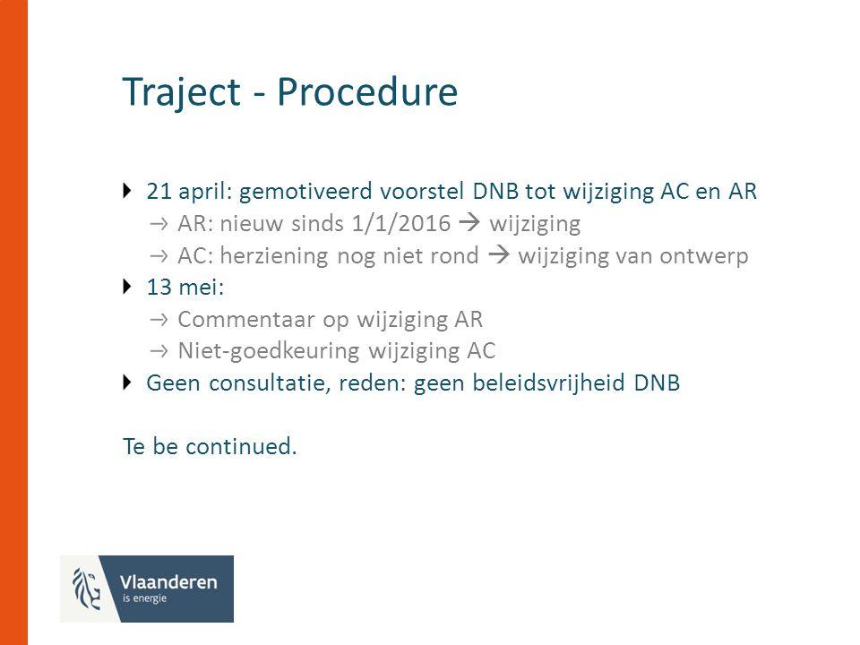Traject - Procedure 21 april: gemotiveerd voorstel DNB tot wijziging AC en AR AR: nieuw sinds 1/1/2016  wijziging AC: herziening nog niet rond  wijziging van ontwerp 13 mei: Commentaar op wijziging AR Niet-goedkeuring wijziging AC Geen consultatie, reden: geen beleidsvrijheid DNB Te be continued.