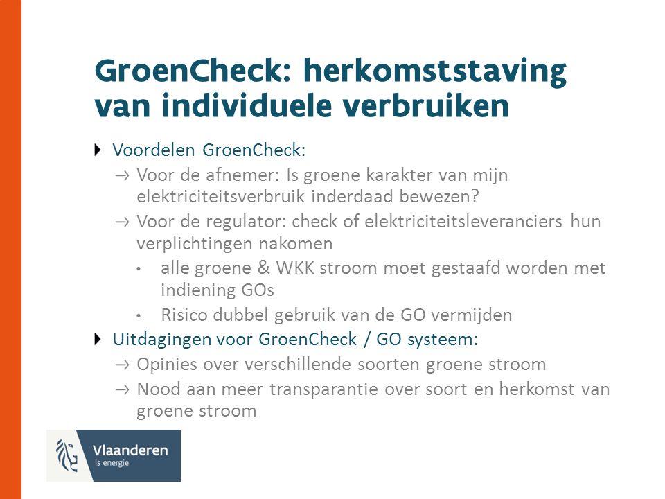 GroenCheck: herkomststaving van individuele verbruiken Voordelen GroenCheck: Voor de afnemer: Is groene karakter van mijn elektriciteitsverbruik inderdaad bewezen.