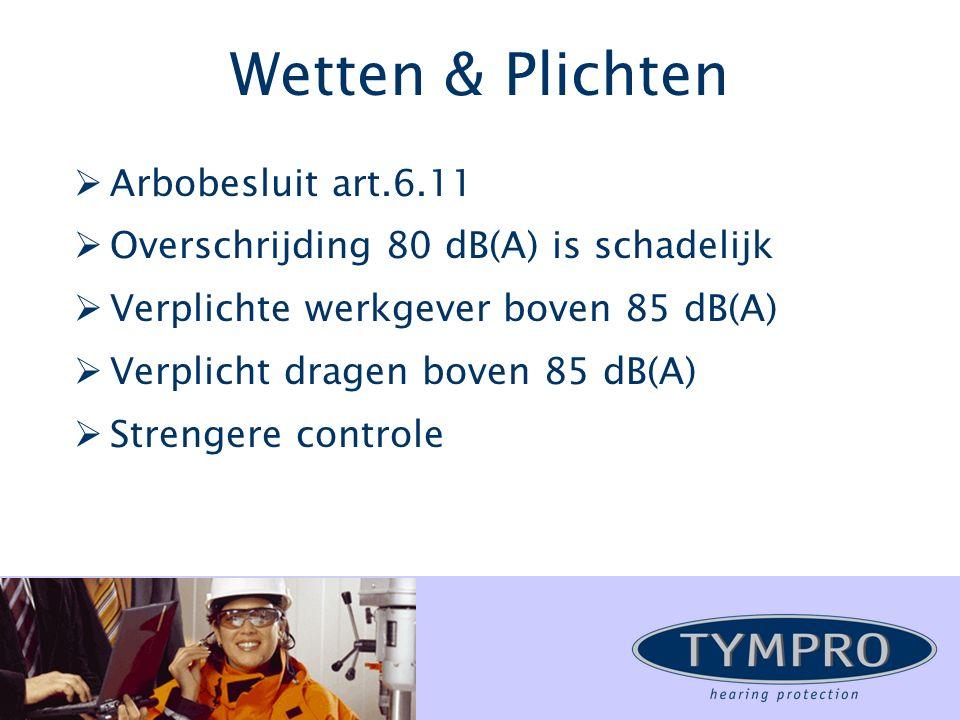 Wetten & Plichten  Arbobesluit art.6.11  Overschrijding 80 dB(A) is schadelijk  Verplichte werkgever boven 85 dB(A)  Verplicht dragen boven 85 dB(A)  Strengere controle