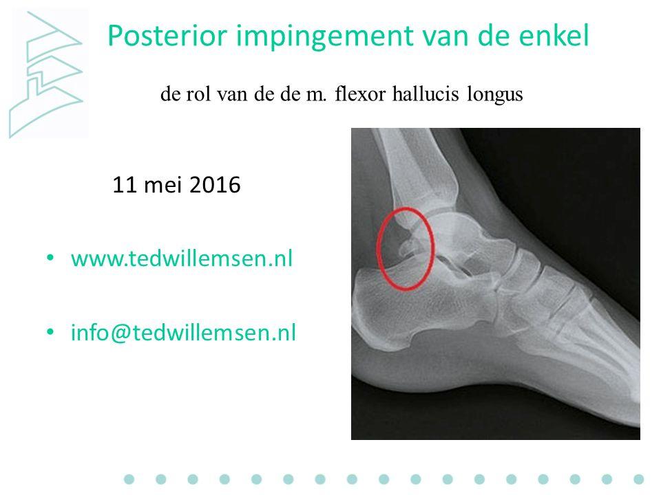 Posterior impingement van de enkel 11 mei 2016 www.tedwillemsen.nl info@tedwillemsen.nl de rol van de de m.