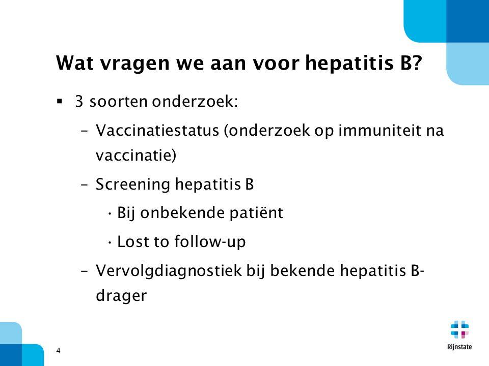Wat vragen we aan voor hepatitis B?  3 soorten onderzoek: –Vaccinatiestatus (onderzoek op immuniteit na vaccinatie) –Screening hepatitis B Bij onbeke