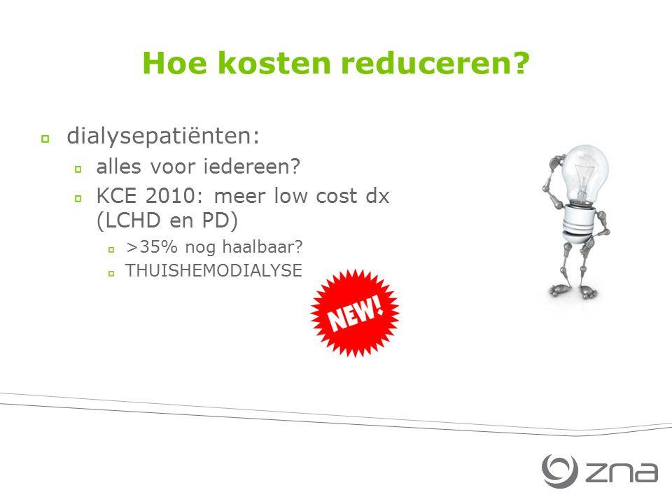Hoe kosten reduceren? dialysepatiënten: alles voor iedereen? KCE 2010: meer low cost dx (LCHD en PD) >35% nog haalbaar? THUISHEMODIALYSE
