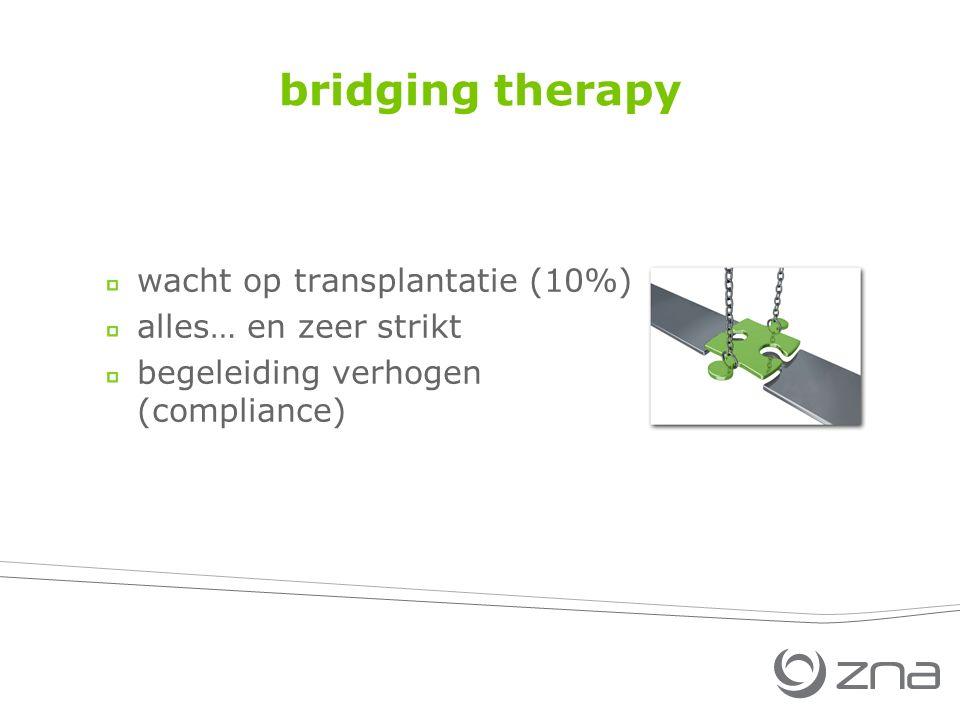 bridging therapy wacht op transplantatie (10%) alles… en zeer strikt begeleiding verhogen (compliance)