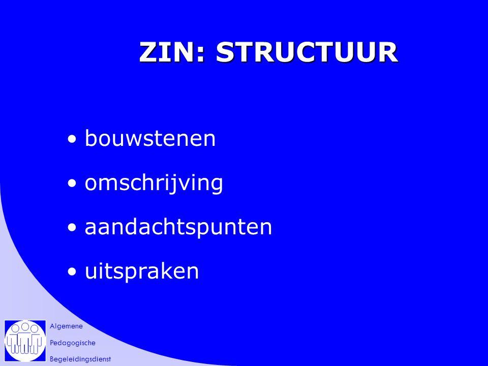 Algemene Pedagogische Begeleidingsdienst ZIN: STRUCTUUR bouwstenen omschrijving aandachtspunten uitspraken