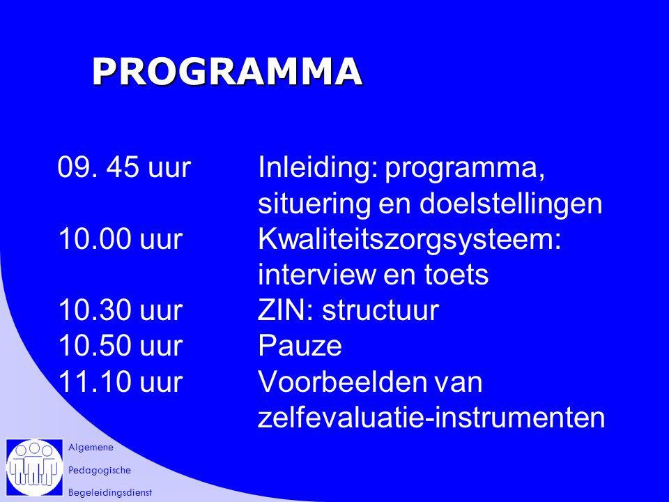 Algemene Pedagogische Begeleidingsdienst PROGRAMMA 09.