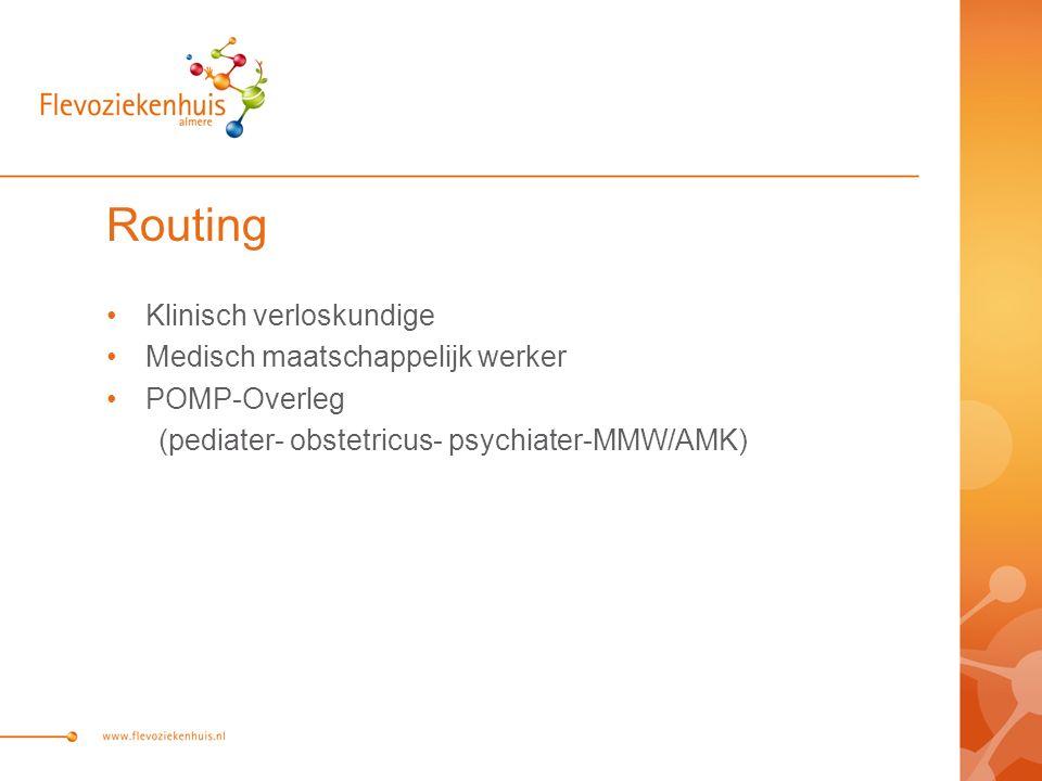 Routing Klinisch verloskundige Medisch maatschappelijk werker POMP-Overleg (pediater- obstetricus- psychiater-MMW/AMK)