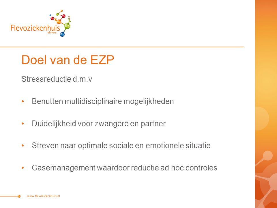 Doel van de EZP Stressreductie d.m.v Benutten multidisciplinaire mogelijkheden Duidelijkheid voor zwangere en partner Streven naar optimale sociale en
