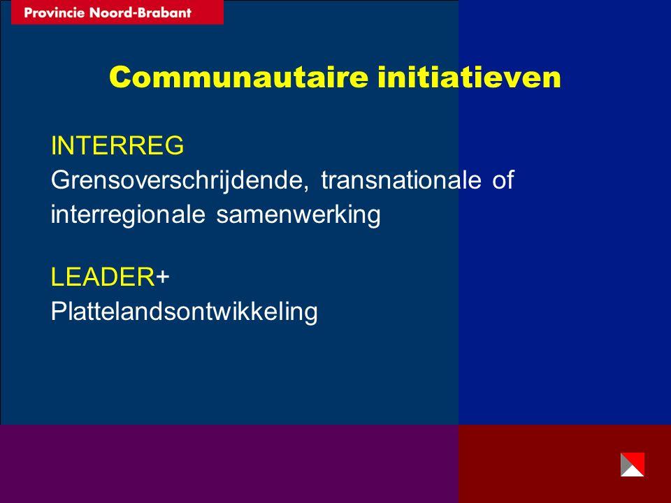 Communautaire initiatieven INTERREG Grensoverschrijdende, transnationale of interregionale samenwerking LEADER+ Plattelandsontwikkeling