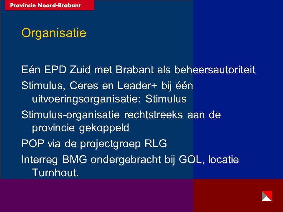 Organisatie Eén EPD Zuid met Brabant als beheersautoriteit Stimulus, Ceres en Leader+ bij één uitvoeringsorganisatie: Stimulus Stimulus-organisatie rechtstreeks aan de provincie gekoppeld POP via de projectgroep RLG Interreg BMG ondergebracht bij GOL, locatie Turnhout.