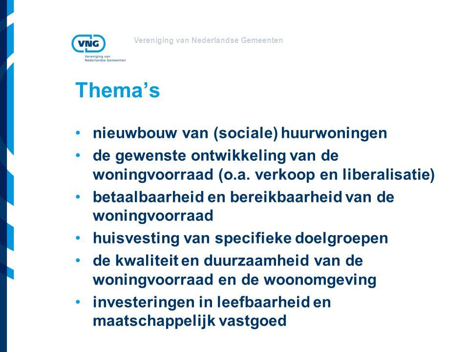 Vereniging van Nederlandse Gemeenten Thema's nieuwbouw van (sociale) huurwoningen de gewenste ontwikkeling van de woningvoorraad (o.a.