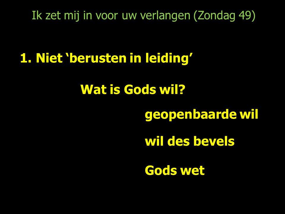 Ik zet mij in voor uw verlangen (Zondag 49) 1.Niet 'berusten in leiding' Wat is Gods wil.