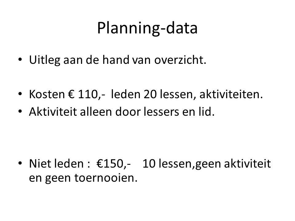 Planning-data Uitleg aan de hand van overzicht.Kosten € 110,- leden 20 lessen, aktiviteiten.