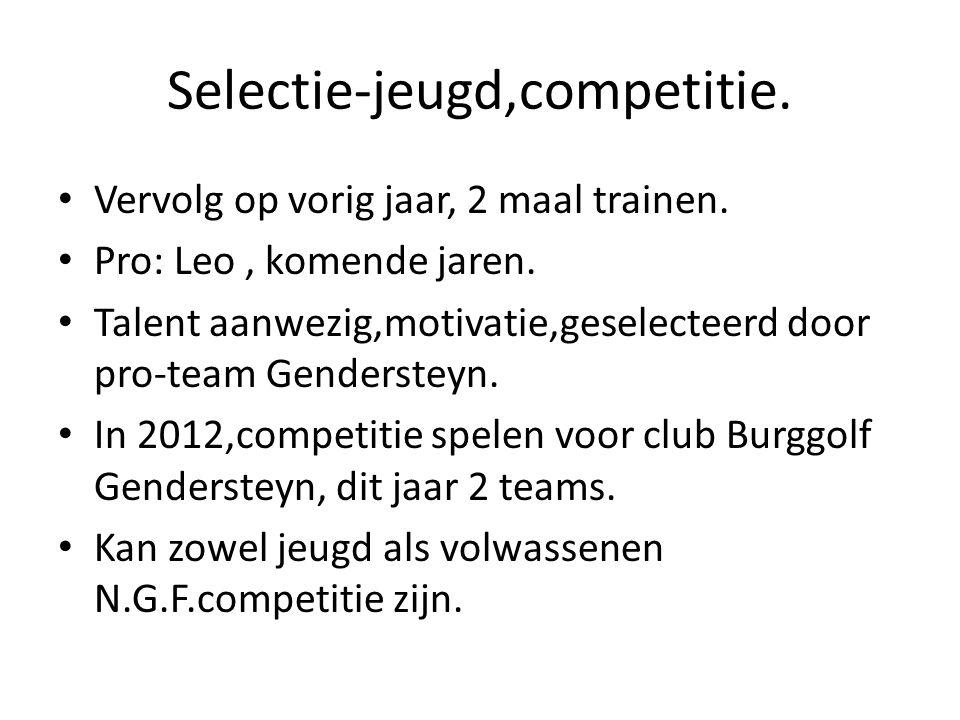 Selectie-jeugd,competitie. Vervolg op vorig jaar, 2 maal trainen.