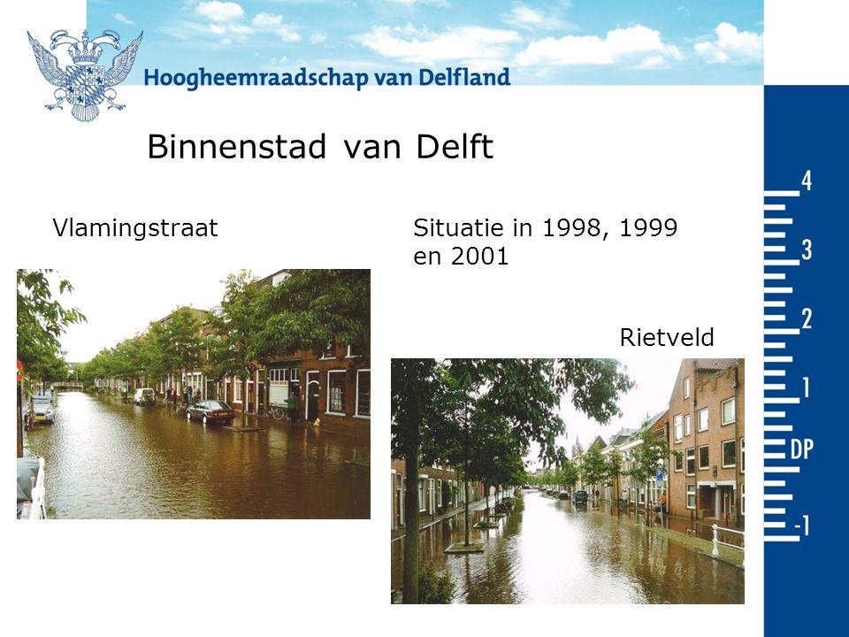 Binnenstad van Delft Rietveld Vlamingstraat Situatie in 1998, 1999 en 2001