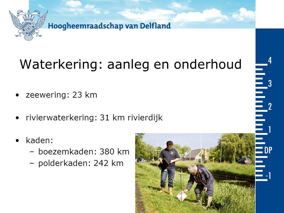 Waterkering: aanleg en onderhoud zeewering: 23 km rivierwaterkering: 31 km rivierdijk kaden: –boezemkaden: 380 km –polderkaden: 242 km