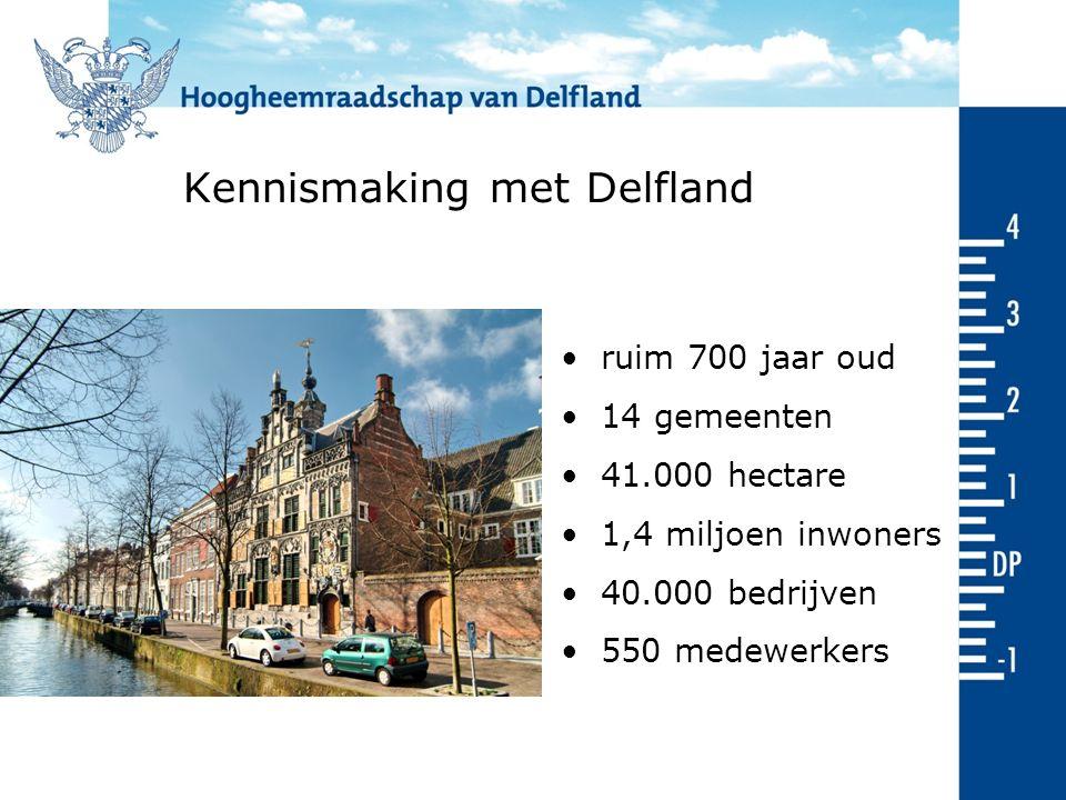 Kennismaking met Delfland ruim 700 jaar oud 14 gemeenten 41.000 hectare 1,4 miljoen inwoners 40.000 bedrijven 550 medewerkers