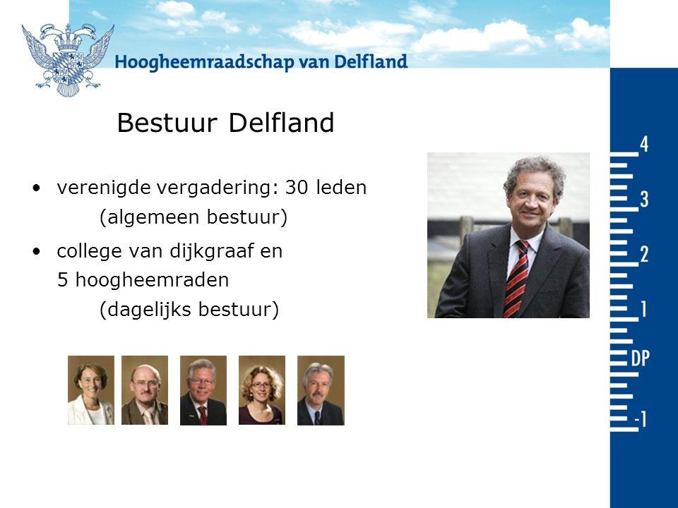 Bestuur Delfland verenigde vergadering: 30 leden (algemeen bestuur) college van dijkgraaf en 5 hoogheemraden (dagelijks bestuur)