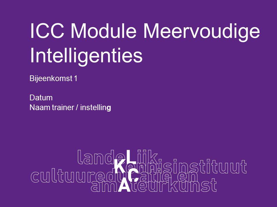 Programma bijeenkomst 1 Welkom, korte toelichting module Voorstelrondje Wat is Meervoudige Intelligentie.