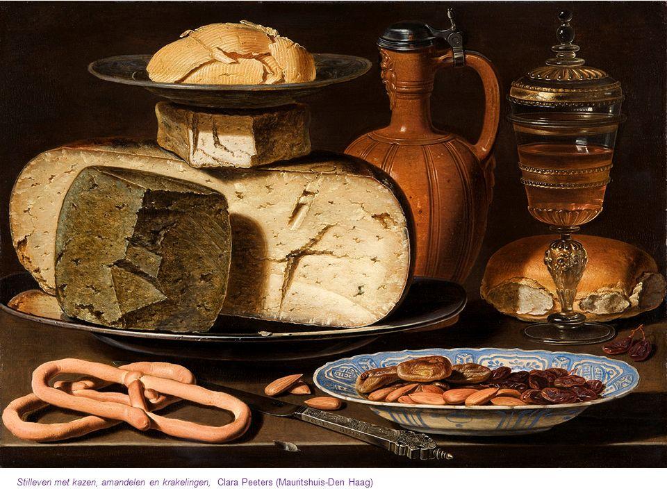 Stilleven met kazen, amandelen en krakelingen, Clara Peeters (Mauritshuis-Den Haag)