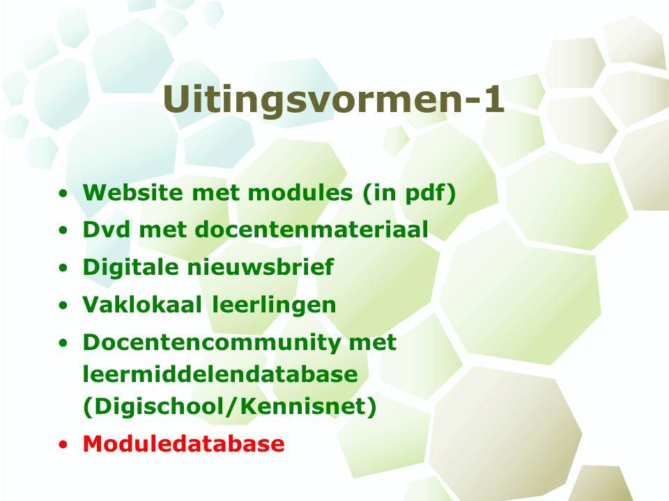 Uitingsvormen-1 Website met modules (in pdf) Dvd met docentenmateriaal Digitale nieuwsbrief Vaklokaal leerlingen Docentencommunity met leermiddelendatabase (Digischool/Kennisnet) Moduledatabase