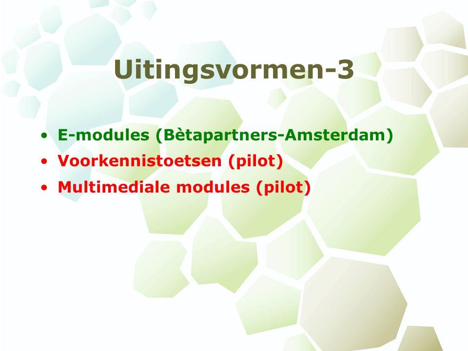 Uitingsvormen-3 E-modules (Bètapartners-Amsterdam) Voorkennistoetsen (pilot) Multimediale modules (pilot)