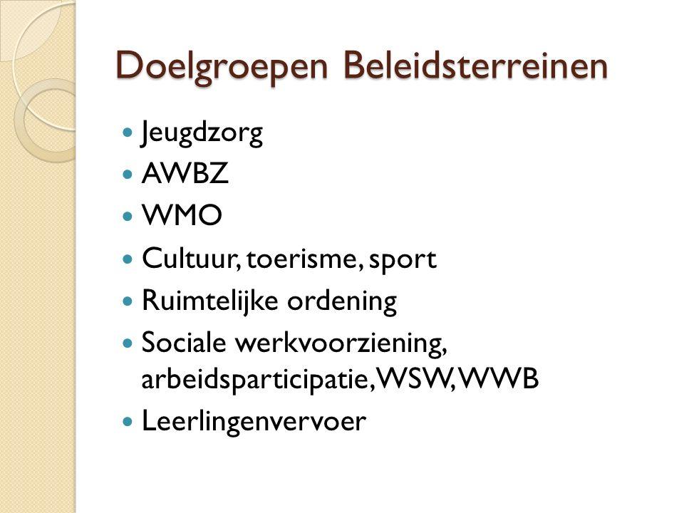 Doelgroepen Beleidsterreinen Jeugdzorg AWBZ WMO Cultuur, toerisme, sport Ruimtelijke ordening Sociale werkvoorziening, arbeidsparticipatie, WSW, WWB Leerlingenvervoer