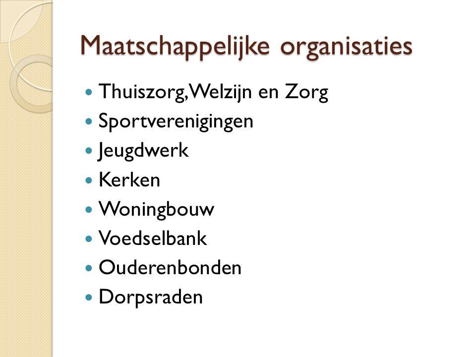 Maatschappelijke organisaties Thuiszorg, Welzijn en Zorg Sportverenigingen Jeugdwerk Kerken Woningbouw Voedselbank Ouderenbonden Dorpsraden