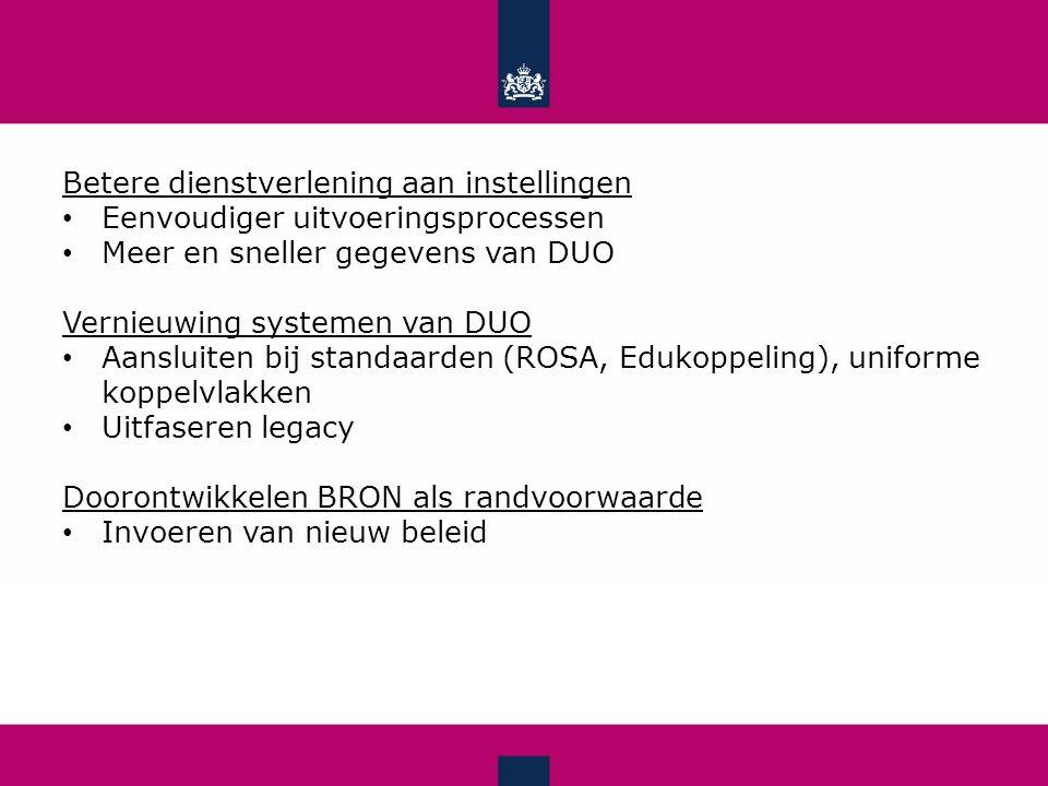 Betere dienstverlening aan instellingen Eenvoudiger uitvoeringsprocessen Meer en sneller gegevens van DUO Vernieuwing systemen van DUO Aansluiten bij standaarden (ROSA, Edukoppeling), uniforme koppelvlakken Uitfaseren legacy Doorontwikkelen BRON als randvoorwaarde Invoeren van nieuw beleid