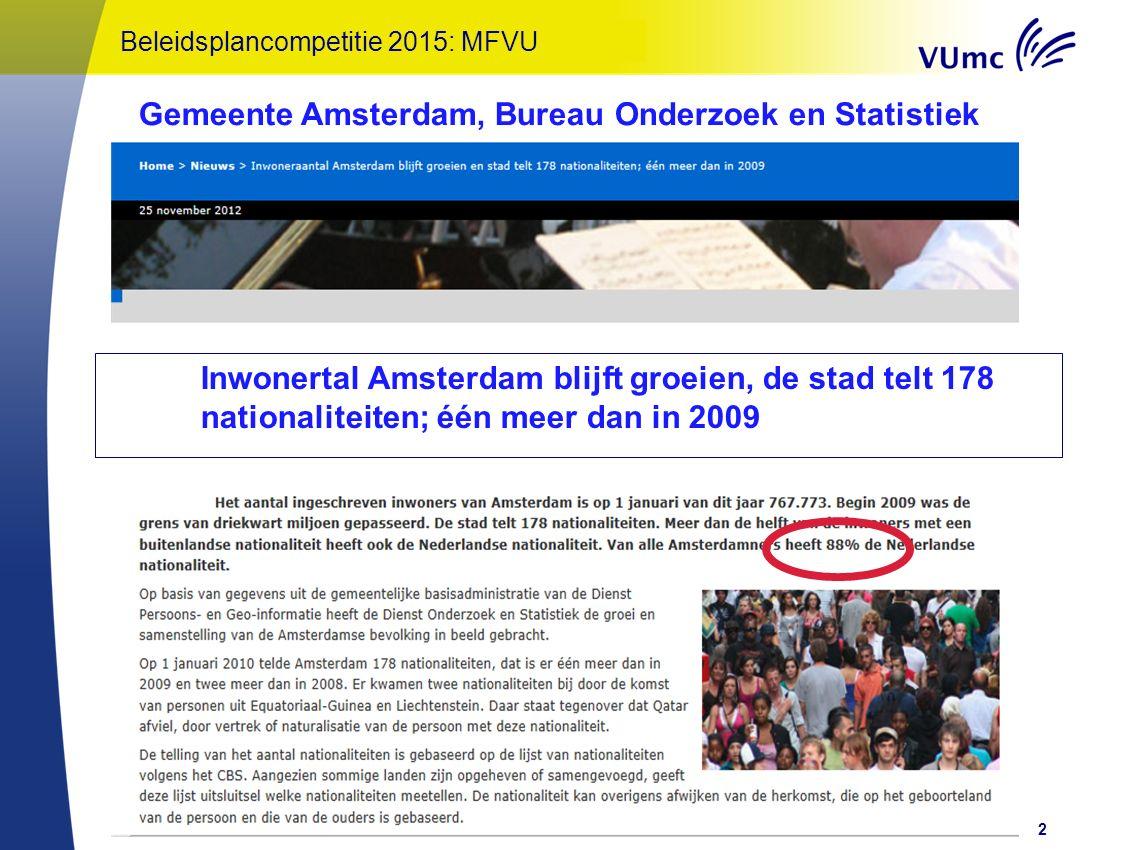 Oratie Onderwijs: een Kunst! – Gerda Croiset 2013 Amsterdam in 2030 Bron: Onderzoek en Statistiek Amsterdam 3 Reference: Onderzoek en Statistiek Amsterdam Beleidsplancompetitie 2015: MFVU Autochtonen 44 %