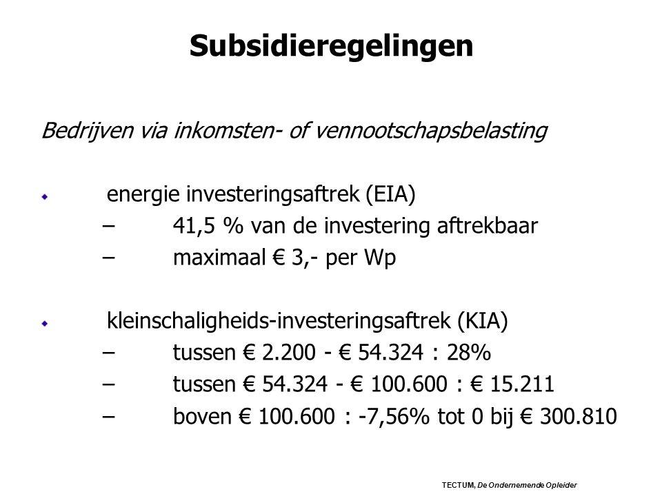 Subsidieregelingen Bedrijven via inkomsten- of vennootschapsbelasting energie investeringsaftrek (EIA) –41,5 % van de investering aftrekbaar –maximaal € 3,- per Wp kleinschaligheids-investeringsaftrek (KIA) –tussen € 2.200 - € 54.324 : 28% –tussen € 54.324 - € 100.600 : € 15.211 –boven € 100.600 : -7,56% tot 0 bij € 300.810 TECTUM, De Ondernemende Opleider