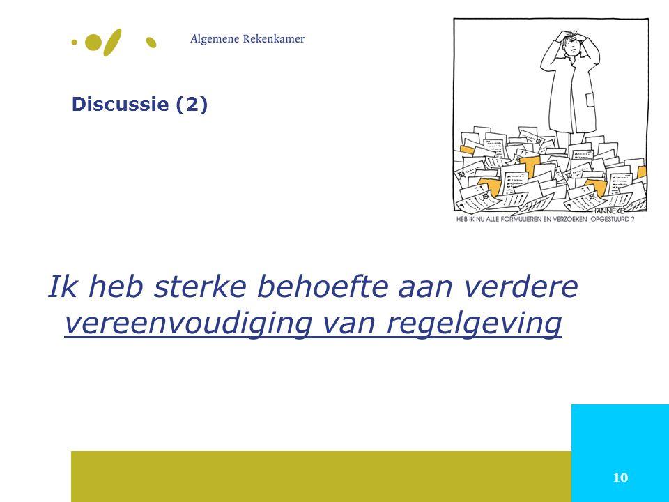 10 Discussie (2) Ik heb sterke behoefte aan verdere vereenvoudiging van regelgeving