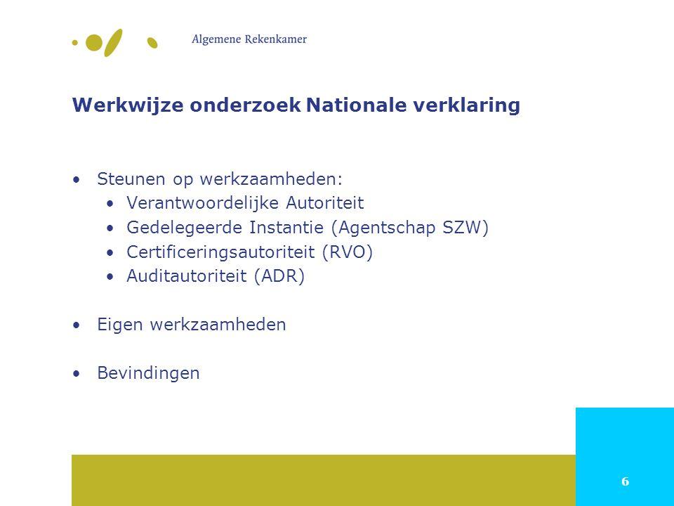 6 Werkwijze onderzoek Nationale verklaring Steunen op werkzaamheden: Verantwoordelijke Autoriteit Gedelegeerde Instantie (Agentschap SZW) Certificeringsautoriteit (RVO) Auditautoriteit (ADR) Eigen werkzaamheden Bevindingen