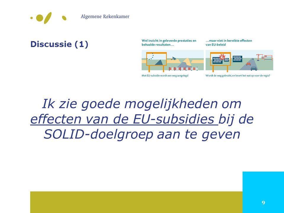 9 Discussie (1) Ik zie goede mogelijkheden om effecten van de EU-subsidies bij de SOLID-doelgroep aan te geven