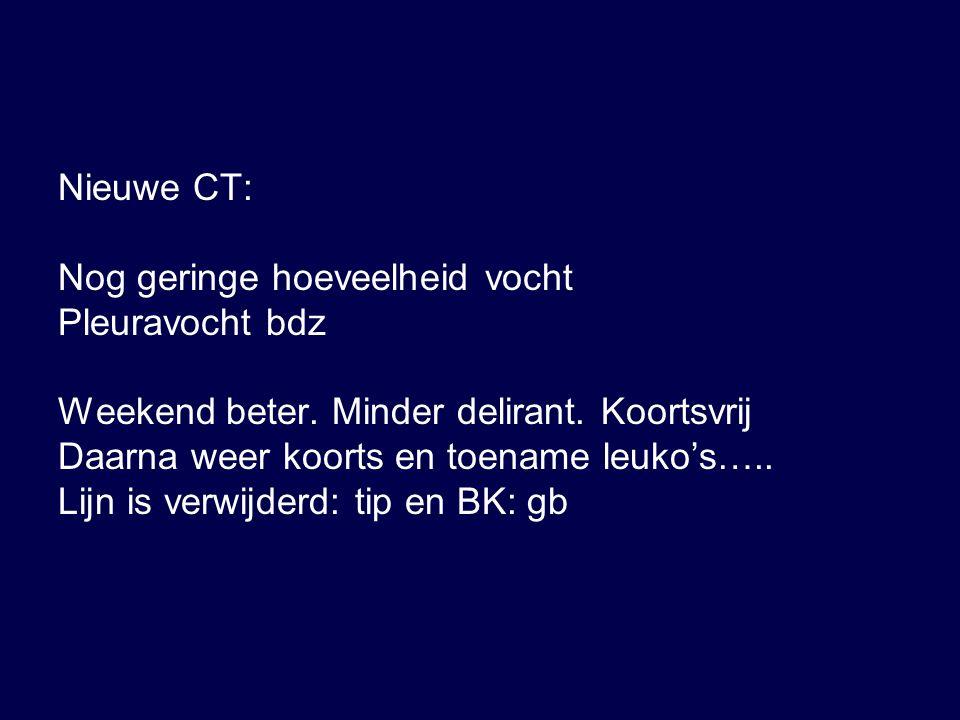 Nieuwe CT: Nog geringe hoeveelheid vocht Pleuravocht bdz Weekend beter.