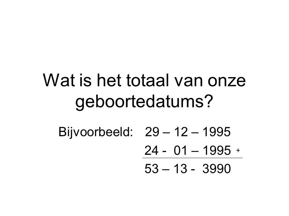 Wat is het totaal van onze geboortedatums? Bijvoorbeeld: 29 – 12 – 1995 24 - 01 – 1995 53 – 13 - 3990 +
