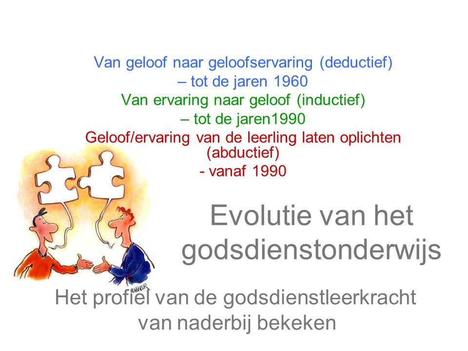 Evolutie van het godsdienstonderwijs Van geloof naar geloofservaring (deductief) – tot de jaren 1960 Van ervaring naar geloof (inductief) – tot de jar