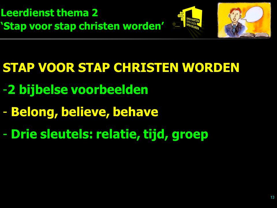 Leerdienst thema 2 'Stap voor stap christen worden' 13 STAP VOOR STAP CHRISTEN WORDEN -2 bijbelse voorbeelden - Belong, believe, behave - Drie sleutels: relatie, tijd, groep