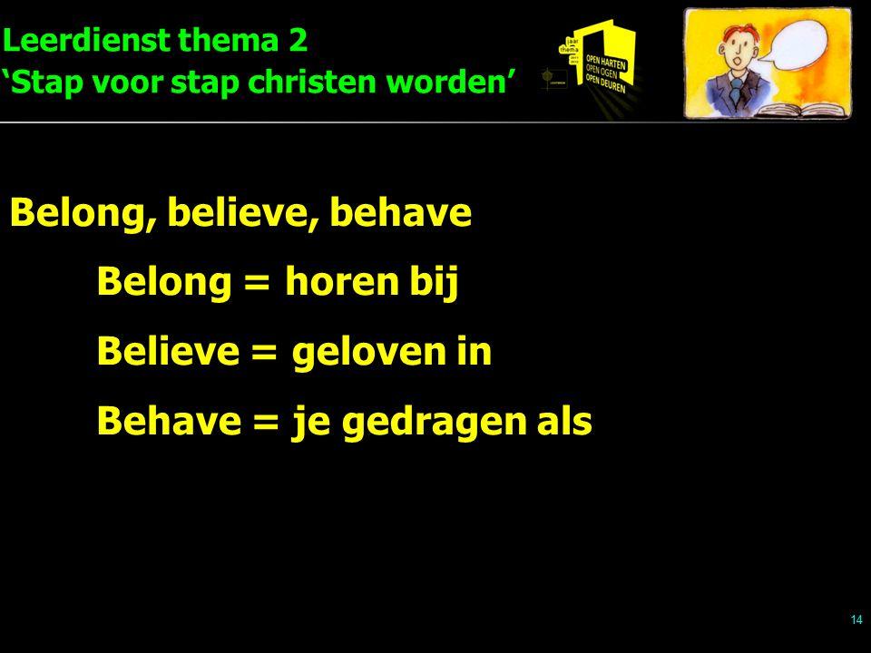 Leerdienst thema 2 'Stap voor stap christen worden' 14 Belong, believe, behave Belong = horen bij Believe = geloven in Behave = je gedragen als