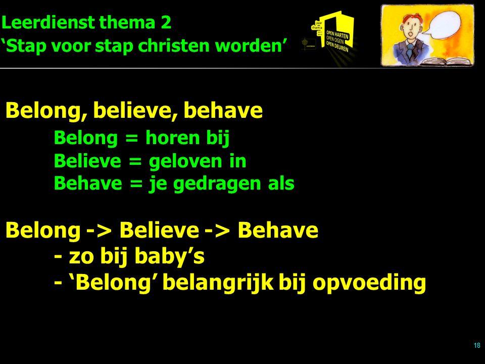 Leerdienst thema 2 'Stap voor stap christen worden' 18 Belong, believe, behave Belong = horen bij Believe = geloven in Behave = je gedragen als Belong -> Believe -> Behave - zo bij baby's - 'Belong' belangrijk bij opvoeding
