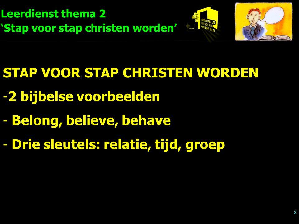 Leerdienst thema 2 'Stap voor stap christen worden' 2 STAP VOOR STAP CHRISTEN WORDEN -2 bijbelse voorbeelden - Belong, believe, behave - Drie sleutels
