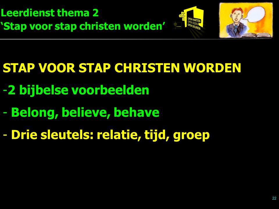 Leerdienst thema 2 'Stap voor stap christen worden' 22 STAP VOOR STAP CHRISTEN WORDEN -2 bijbelse voorbeelden - Belong, believe, behave - Drie sleutels: relatie, tijd, groep