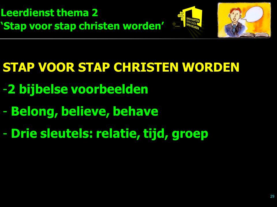 Leerdienst thema 2 'Stap voor stap christen worden' 29 STAP VOOR STAP CHRISTEN WORDEN -2 bijbelse voorbeelden - Belong, believe, behave - Drie sleutel
