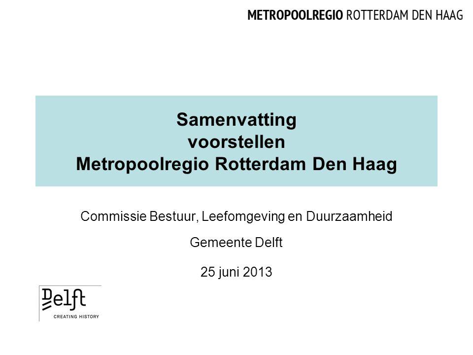 Samenvatting voorstellen Metropoolregio Rotterdam Den Haag Commissie Bestuur, Leefomgeving en Duurzaamheid Gemeente Delft 25 juni 2013