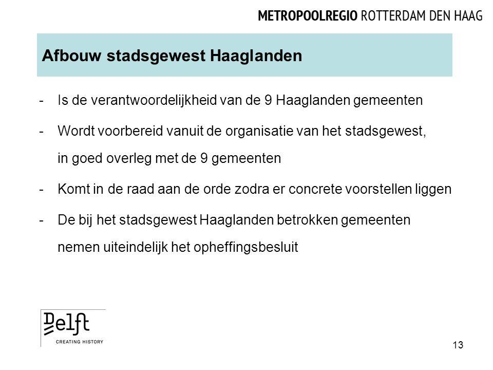 Afbouw stadsgewest Haaglanden -Is de verantwoordelijkheid van de 9 Haaglanden gemeenten -Wordt voorbereid vanuit de organisatie van het stadsgewest, in goed overleg met de 9 gemeenten -Komt in de raad aan de orde zodra er concrete voorstellen liggen -De bij het stadsgewest Haaglanden betrokken gemeenten nemen uiteindelijk het opheffingsbesluit 13