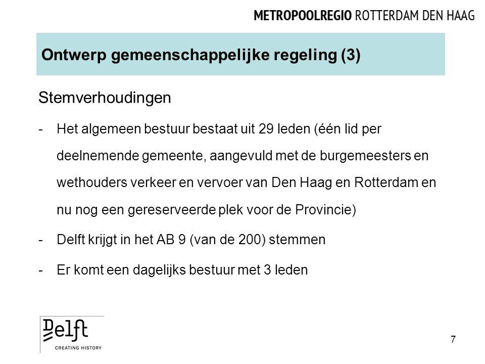 Ontwerp gemeenschappelijke regeling (3) Stemverhoudingen -Het algemeen bestuur bestaat uit 29 leden (één lid per deelnemende gemeente, aangevuld met de burgemeesters en wethouders verkeer en vervoer van Den Haag en Rotterdam en nu nog een gereserveerde plek voor de Provincie) -Delft krijgt in het AB 9 (van de 200) stemmen -Er komt een dagelijks bestuur met 3 leden 7