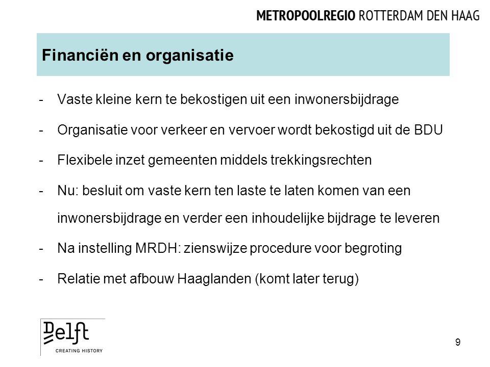 Financiën en organisatie -Vaste kleine kern te bekostigen uit een inwonersbijdrage -Organisatie voor verkeer en vervoer wordt bekostigd uit de BDU -Flexibele inzet gemeenten middels trekkingsrechten -Nu: besluit om vaste kern ten laste te laten komen van een inwonersbijdrage en verder een inhoudelijke bijdrage te leveren -Na instelling MRDH: zienswijze procedure voor begroting -Relatie met afbouw Haaglanden (komt later terug) 9