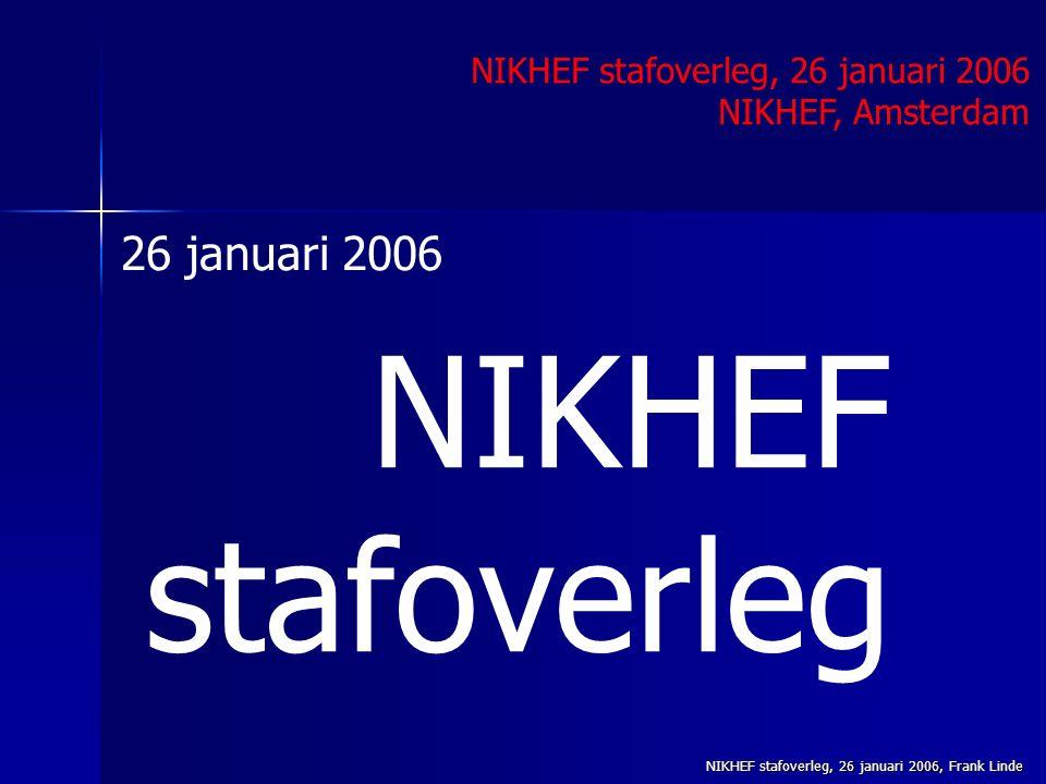 NIKHEF stafoverleg, 26 januari 2006, Frank Linde NIKHEF stafoverleg NIKHEF stafoverleg, 26 januari 2006 NIKHEF, Amsterdam 26 januari 2006