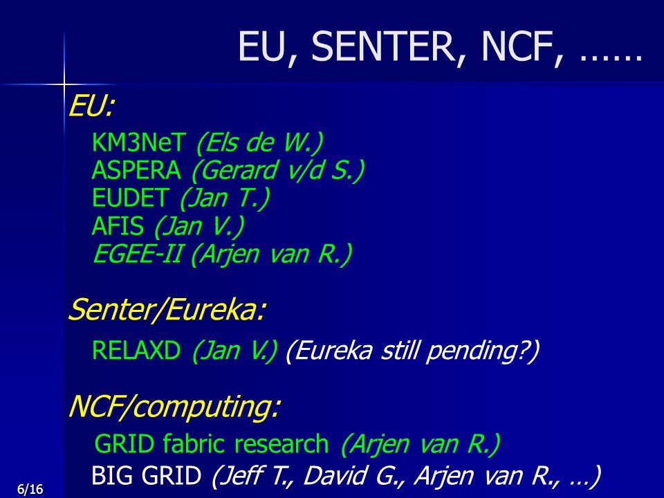 6/16 EU, SENTER, NCF, …… EU: KM3NeT (Els de W.) ASPERA (Gerard v/d S.) EUDET (Jan T.) AFIS (Jan V.) EGEE-II (Arjen van R.) NCF/computing: GRID fabric research (Arjen van R.) BIG GRID (Jeff T., David G., Arjen van R., …) Senter/Eureka: RELAXD (Jan V.) (Eureka still pending?)